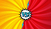 Comic versus horizontal background with two opposite sides, lightnings, speech bubble, twisted radial and halftone effects in red and yellow colors. Vector illustration