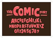 Vector of modern comical font and alphabet