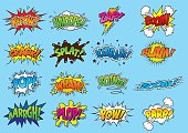 Sixteen brightly coloured sound effect graphics using hand drawn type, halftone patterns and line-art.