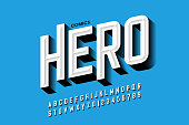 Comics hero style font design, alphabet letters and numbers vector illustration