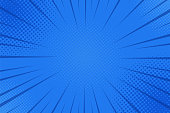 Comics rays background with halftones. Vector summer backdrop illustrations.