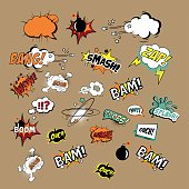 Multicolored Comics Sound Effects and Explosions. Vector Illustartion