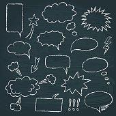 Chalkboard set of speech bubbles in comics style
