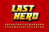 Comics style font design, superhero inspired alphabet, last hero, letters and numbers vector illustration