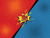 Comic book versus background. Vector illustration pop art style