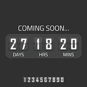 Flip Coming Soon illustration, countdown timer template. Opening soon for website template. Days, hours and minutes countdown in flip font.