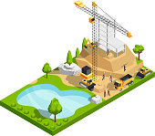 Commercial building construction 3d isometric vector concept for architecture site design. Construction site isometric graphic, 3d building house with park and pond illustration