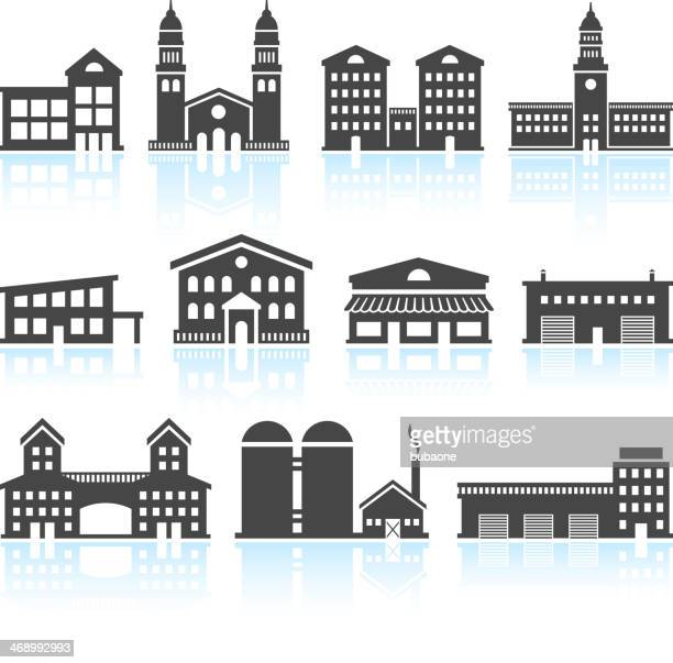 Commercial Real Estate Buildings Black & White vector icon set