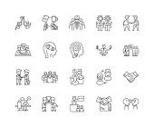 Commitment line icons, linear signs, vector set, outline concept illustration