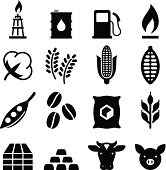 Commodities market icons. Vector icons for video, mobile apps, Web sites and print projects. See more in this series.