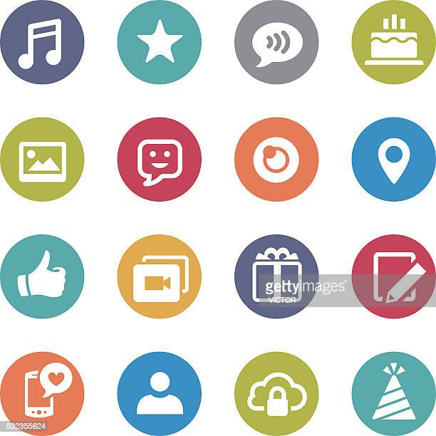 Communication and Social Media Icons - Circle Series