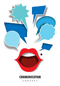 Communication concept with paper art, abstract, mouth, red lipstick, icon paper cut style vector