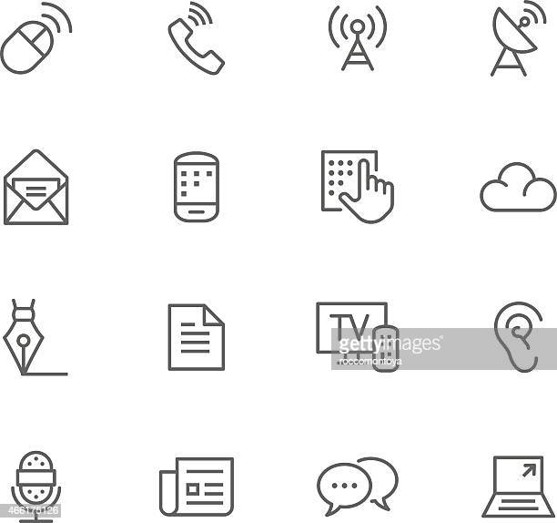 Communication flat simple icons set