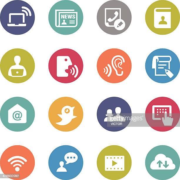 Communication Icon Set - Circle Series