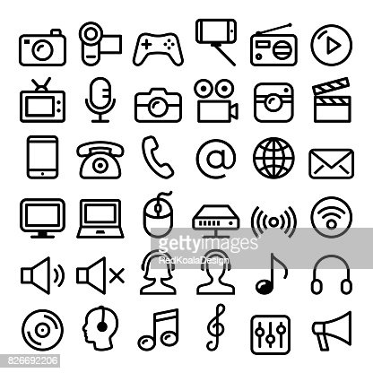 Communication, Media, modern technology web line icon set - big pack : Arte vettoriale