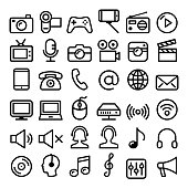 Vector media, wireless internet, concact linear icons design isolated on white
