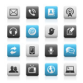 Matte vector icons on square button