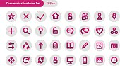 Vector thick lines communications related icon set