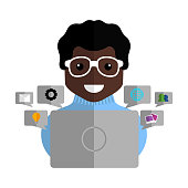 Community manager with a laptop and social media icons - Vector