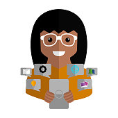 Community manager with a smartphone and social media icons - Vector