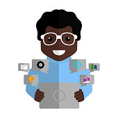 Community manager with a tablet and social media icons - Vector