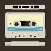 Compact cassette in view from three sides.