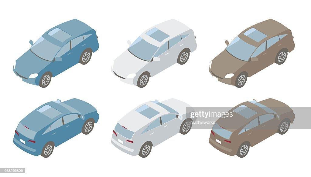 Compact SUVs Isometric Illustration : Vector Art