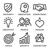 Company Core Values Outline Icons for Websites - Infographics