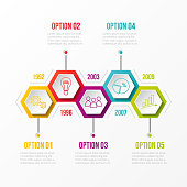 Company milestone with hexagonal icons. Vector.