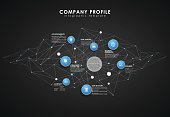 Company profile overview template with circles and dots - dark version.