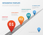 Company timeline vector infographic. Milestone road with pointers. Pointer on timeline road, workflow process point illustration