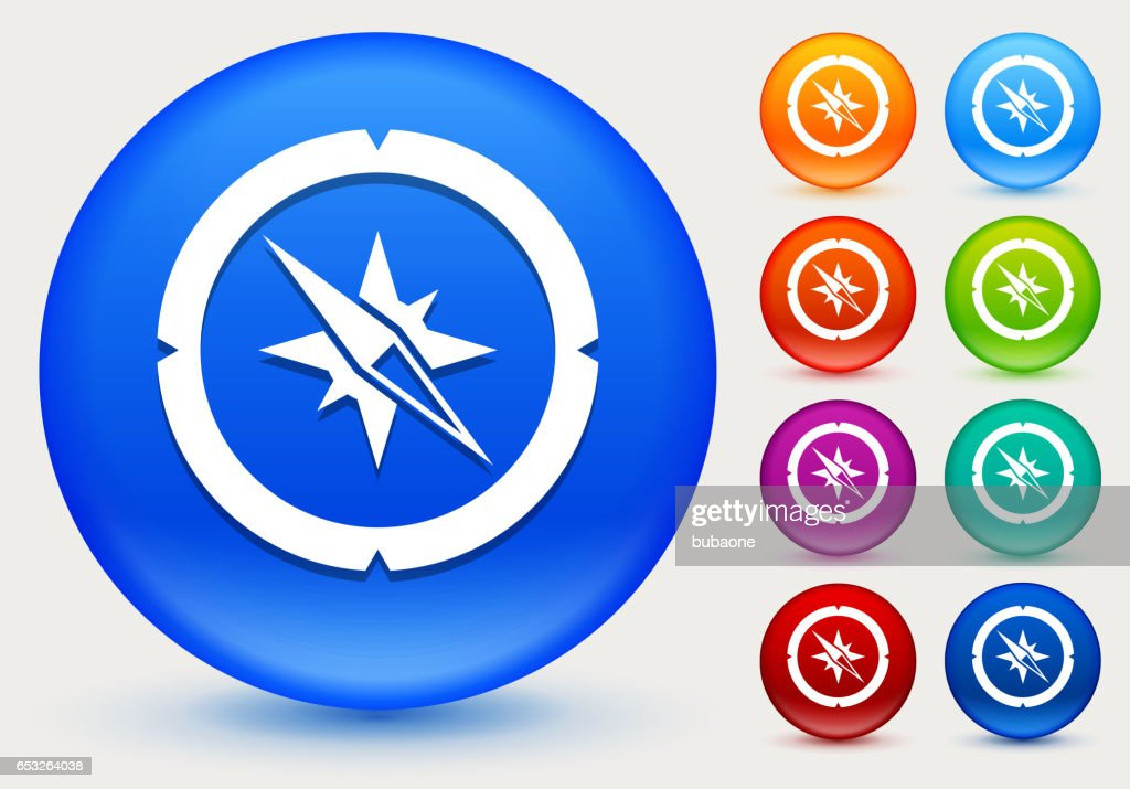 Compass Icon on Shiny Color Circle Buttons : Vector Art