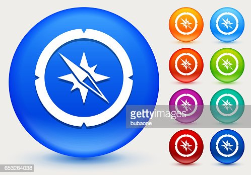 Compass Icon on Shiny Color Circle Buttons : Vektorgrafik
