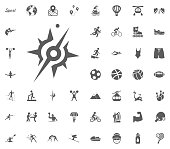 Compass icon. Sport illustration vector set icons. Set of 48 sport icons