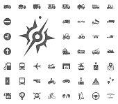 Compass icon. Transport and Logistics set icons. Transportation set icons.