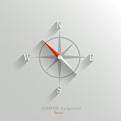 Abstract vector compass icon with shadow in flat style