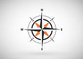 Compass Icon Vector. Simple flat symbol. Vector compass design