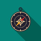 Compass icon with long shadow. Flat design style. Compass silhouette. Simple icon. Modern flat icon in stylish colors. Web site page and mobile app design element.