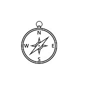Compass line icon, navigation and travel, vector graphics, a linear pattern on a white background, eps 10.