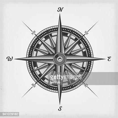 Compass Rose Black And White : Vector Art