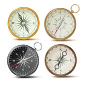Compass Set Vector. Different Colored Compasses. Navigation Realistic Object Sign. Retro Style. Wind Rose. Isolated Illustration