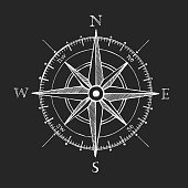 Compass wind rose hand drawn vector design element.