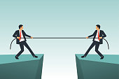 Competition concept. Business people. Businessmen in suit pull the rope at edge of cliff, symbol of rivalry, competition, conflict. Tug of war. Vector illustration, flat design. Corporate conflicts.