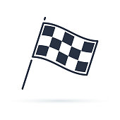 Competition sport flag line vector icon. Racing Finish symbol. Modern minimalistic sign