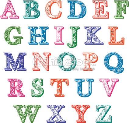 Die Farbige Muster Mit Buchstaben Des Alphabets Vektorgrafik ...