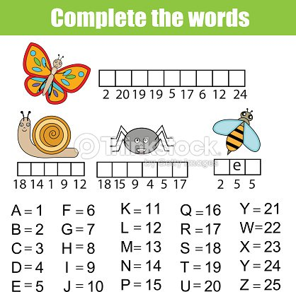 Complete the words children educational game. Insects, animals theme, learning