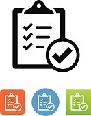 Clipboard with checkmark symbol for download. Vector icons for video, mobile apps, Web sites and print projects.