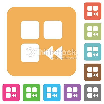 component fast backward rounded square flat icons