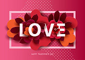 Composition with LOVE inscription and abstract florals elements in frame. Colorful illustration for your banner, poster, flyer, brochure.