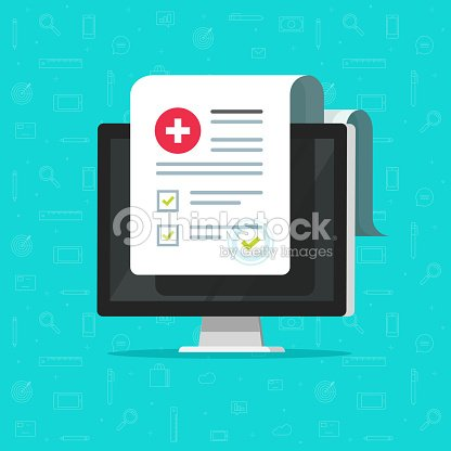 computer and medical form list results data and approved check mark